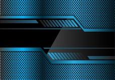 Abstracte blauwe technologiebanner op van het het netwerkpatroon van de metaalcirkel het ontwerp moderne futuristische vector als Royalty-vrije Stock Foto