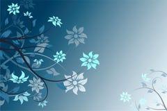 Abstracte blauwe vectorbloemachtergrond Stock Foto