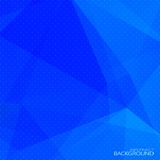 Abstracte blauwe veelhoekige achtergrond met halftone Royalty-vrije Stock Afbeelding