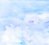 Abstracte blauwe violette waterverfachtergrond Stock Afbeeldingen
