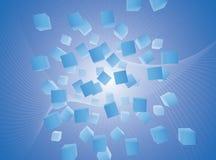 Abstracte blauwe vliegende kubussenachtergrond Royalty-vrije Stock Foto