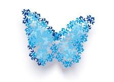 Abstracte blauwe vlinder Royalty-vrije Stock Afbeeldingen