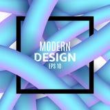 Abstracte blauwe vloeibare lijnen in 3d stijl Zwarte kaderbanner voor tekst Kleurrijke achtergrond Modern ontwerp voor uw project Stock Foto's