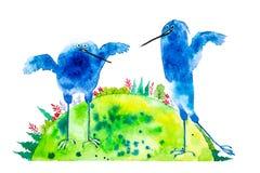 Abstracte blauwe vogels op een groene aardeachtergrond met bossen en gebieden Waterverfillustratie op wit wordt geïsoleerd dat vector illustratie