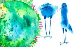 Abstracte blauwe vogels op een groene aardeachtergrond met bossen en gebieden Waterverfillustratie op wit wordt geïsoleerd dat royalty-vrije illustratie