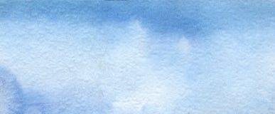 Abstracte blauwe waterverfachtergrond Hand op geweven document wordt geschilderd dat royalty-vrije stock afbeelding