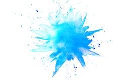 Abstracte blauwe waterverfplons Royalty-vrije Stock Foto's