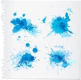 Abstracte blauwe waterverfverf splats Royalty-vrije Stock Foto's
