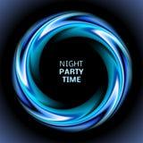 Abstracte blauwe wervelingscirkel op zwarte achtergrond Stock Foto