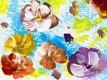 Abstracte bloemen, creatieve abstracte hand geschilderde achtergrond royalty-vrije illustratie