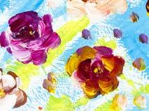 Abstracte bloemen, creatieve abstracte hand geschilderde achtergrond stock illustratie