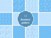 Abstracte bloemen, harten, cirkels Reeks naadloze patronen in zachte blauwe en blauwe tonen Royalty-vrije Stock Afbeeldingen