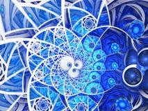 Abstracte bloemen het glassamenstelling van de mozaïekvlek in blauwe toon vector illustratie