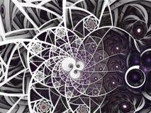 Abstracte bloemen het glassamenstelling van de mozaïekvlek in purpere en grijze toon stock illustratie