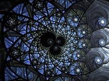 Abstracte bloemen het glassamenstelling van de moza?ekvlek in blauwe toon royalty-vrije illustratie