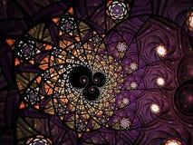 Abstracte bloemen het glassamenstelling van de moza?ekvlek in purpere en grijze toon royalty-vrije illustratie