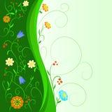 Abstracte bloemen met bloemen groene stam Royalty-vrije Stock Foto's