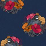 Abstracte bloemen naadloze patroon, vogel en bloem vector illustratie