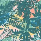 Abstracte bloemen naadloze patroonsilhouetten van bladeren en artistieke achtergrond stock illustratie