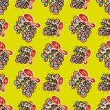 Abstracte bloemen op een geel naadloos patroon als achtergrond Royalty-vrije Stock Afbeeldingen