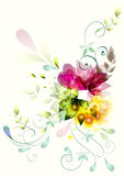 Abstracte bloemen op een wit Stock Afbeelding