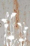 Abstracte bloemen op oude roestige metaaltextuur Royalty-vrije Stock Afbeeldingen