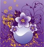Abstracte bloemen op purpere achtergrond Royalty-vrije Stock Fotografie