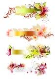 Abstracte bloemen vector geplaatste banners Stock Foto's
