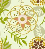 Abstracte bloemen vector naadloos op groene achtergrond royalty-vrije stock fotografie