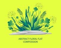 Abstracte bloemen vlakke samenstelling met installatie en stenen in groene kleuren royalty-vrije illustratie