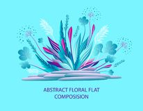 Abstracte bloemen vlakke samenstelling met installaties en stenen in blauwe sering stock illustratie