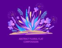 Abstracte bloemen vlakke samenstelling met installaties en stenen in heldere kleuren royalty-vrije illustratie