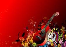 Abstracte bloemenachtergrond en gitaar Stock Foto's