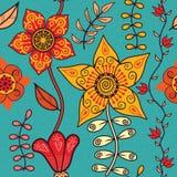 Abstracte bloemenachtergrond, het naadloze patroon van het de zomerthema, vecto Stock Foto's