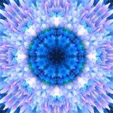 Abstracte bloemenachtergrond Het patroon van de fantasiesneeuwvlok Mooie caleidoscooptextuur Decoratief mandalaornament in blauwe vector illustratie