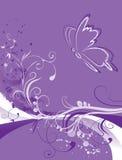 Abstracte bloemenachtergrond met vlinder Stock Fotografie