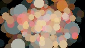Abstracte bokehlichten van verschillende kleuren die langzaam op zwarte achtergrond, naadloze lijn stromen animatie adembenemend stock illustratie