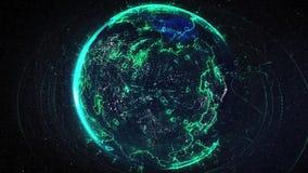 Abstracte bol met het verbonden netwerk van de puntendraadloze communicatie op ruimte Abstracte netwerkbol met lijnen, punten en vector illustratie