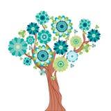 Abstracte boom die van bloemen wordt gemaakt. Royalty-vrije Stock Afbeelding