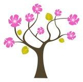 Abstracte boom met bloemen royalty-vrije illustratie