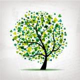 Abstracte boom met hartblad op grungeachtergrond Stock Afbeeldingen