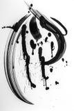 Abstracte borstelslagen en plonsen van verf op Witboekrug royalty-vrije stock foto's