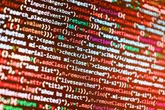 Abstracte broncodeachtergrond Mobiele app ontwikkelaar De baan van het programmeursberoep stock afbeeldingen