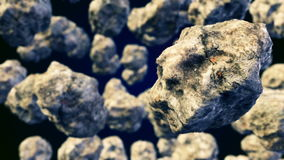 Abstracte CGI-motiegrafiek met vliegende asteroïden stock illustratie