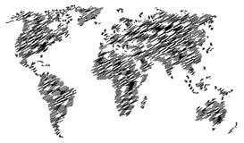 Abstracte chaotische die wereldkaart op witte achtergrond wordt geïsoleerd vector illustratie