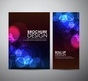 Abstracte Cirkel bokeh Brochure bedrijfsontwerpmalplaatje of broodje omhoog Stock Afbeeldingen