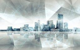 Abstracte cityscape horizon Blauwe gestemde 3 D geven terug royalty-vrije illustratie
