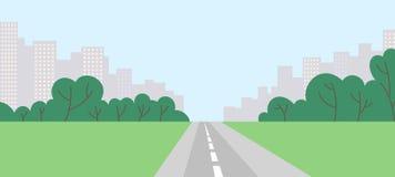 Abstracte cityscape met bomen, weg en gebied Stock Afbeeldingen