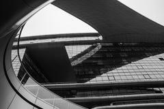 Abstracte close-up zwart-witte foto van het moderne detail van de vormarchitectuur Bionische voorgevel Bedrijfsbureau Stock Foto