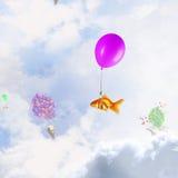 Abstracte collage het drijven gouden vissen onder baloons Gemengde media Stock Fotografie